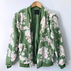 Modcloth Green Light Weight Floral Jacket NWOT
